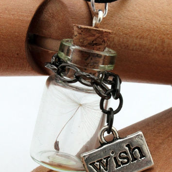 Dandelion seed glass vial pendant with wish charm on chain- Last wish- Great Christmas gift jewelry- Wholesale and wedding favours available