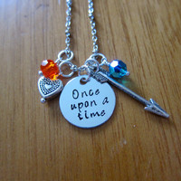 """Disney Inspired Princess Merida Necklace. """"Once Upon A Time"""" Brave. Silver colored, Hand Stamped, Swarovski crystals FREE shipping"""