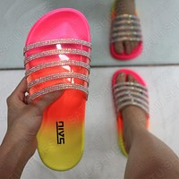 Fashion transparent rhinestone one-word slippers, flat sandals and slippers for women