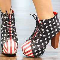 Canvas Women Lace-up Star Stripe Wooden Heels Super High Ankle Boots Shoes