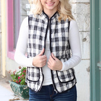 Mad Plaid Puffer Vest {Black+White}