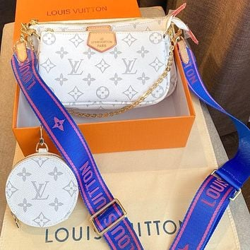 Onewel Lv three piece set-Mahjong bag with color-changing leather and soft Monogram fabric White Blue