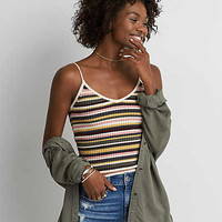 AEO Striped Ribbed Tank , Yellow