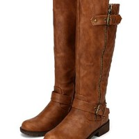 Nature Breeze Vivienne-01 Leatherette Quilted Knee High Riding Boot - Tan (Size: 9.0)