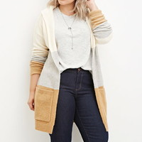 Plus Size Hooded Stripe Cardigan