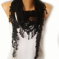 Black Scarf, Black Lace Scarf, Transparent Black Scarf, New Year Party Anniversary Gift