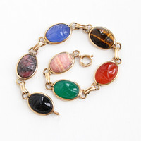 Vintage 12k Yellow Gold Filled Scarab Bracelet - Retro 1960s Oval Carved Beetle Colorful Gem Agate, Tiger's Eye Egyptian Revival Jewelry