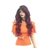 Fuchsia pink ombre lace front wig - Wow