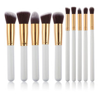 White Pro 10Pcs Makeup Blush Eyeshadow Blending Set Concealer Cosmetic Make Up Brushes Tool Eyeliner Lip Brushes