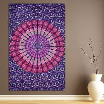 Pink & Purple Boho Mandala Tapestry Hippie Wall Hanging  Bohemian Beach Sheet - Free Shipping