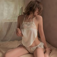 Sexy retro lace belly bag sexy lingerie thong Chinese style red lingerie set Pajama underwear suit sleep tops uniform suit