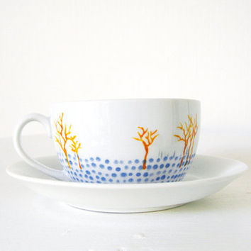 Hand painted porcelain cup and saucer set - Winter trees with snowflakes