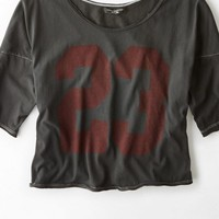 AEO Women's Don't Ask Why Cropped Football T-shirt