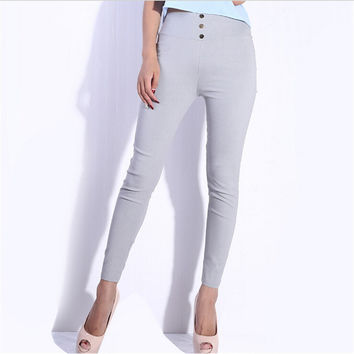 Women Skinny High Waist Leggings Stretchy Sexy Pants Pencil Jeggings Hot sale One size grey