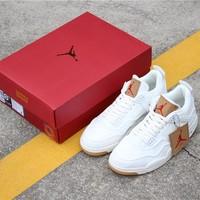 Air Jordan 4 x Levis NRG Triple White Men Retro Sneaker Model AO2571-100