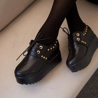 England Style Vintage Summer Rivet Thick Crust Wedge Height Increase Shoes [9432945034]