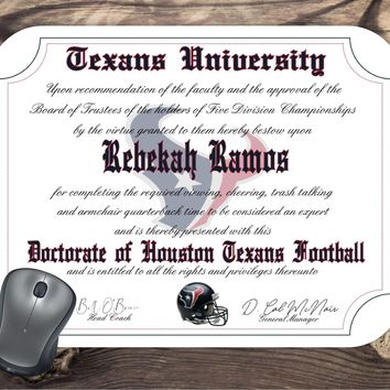 Houston Texans Ultimate Football Fan Personalized Diploma Mouse Pad