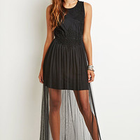 Crochet-Paneled Mesh Maxi Dress