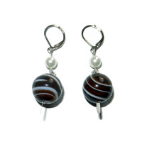 Large Brown and White Striped Glass Earrings