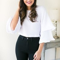 Ringing For You Bell Sleeve Crop Top - White
