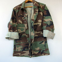 Vintage 90s Jacket Shirt Camo Camouflage Military Woodland Combat Small Short