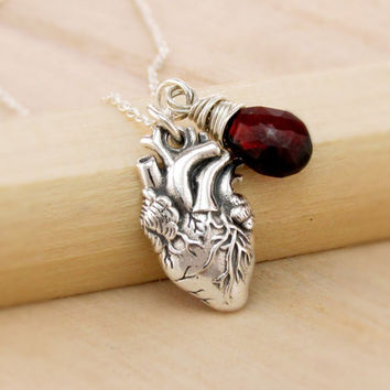 Anatomical Correct Heart Necklace with Gemstone Birthstone, Anatomically Correct Heart, Sterling Real Life Heart, Human Heart Jewelry, Organ