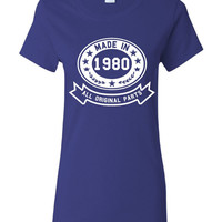 Made In 1980 With All Original Parts Great 34Th Birthday Celebration T Shirt Great Gift For 34TH Birthday Made In 1980