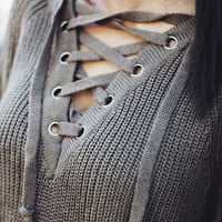 Evergreen Lace Up Sweater Olive