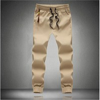 New Fashion Drawstring Pants High Quality Cotton Men Joggers Casual Sweatpants Men's Trousers