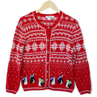 Hairy Snowflakes and Penguins Tacky Ugly Christmas Sweater