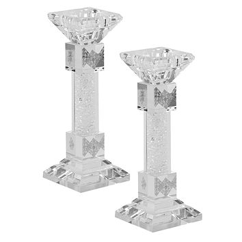 """Candlesticks Crystal Silver With Light Silver Stones 7"""""""