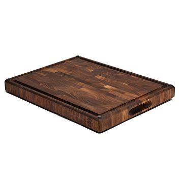 Made in USA, Large End Grain Walnut Wood Cutting Board with Built-in Compartments, Non-slip: 17x13x1.5 with Juice Groove (Gift Box Included) by Sonder Los Angeles Black Walnut 17 x 13 x 1.5 in