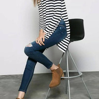 Long Sleeve Stripe Top with Side Split