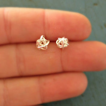 Sterling Silver Love Knot Earrings Beautiful Mess Tiny Stud Earrings Bridesmaid Gifts Shower gifts