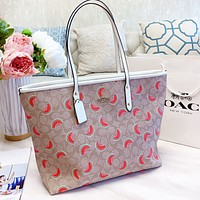 COACH Women Shopping Leather Watermelon Print Handbag Tote Shoulder Bag
