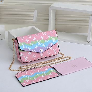 LV Louis Vuitton Hot Three-piece Set Chain Bag Card Holder Coin Purse Fashion Ladies One Shoulder Messenger Bag