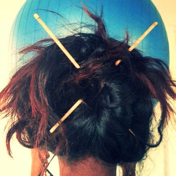 Natural Wooden Hair Chopsticks With Metal Tips And Organic Burned Design