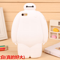 Silicone Phone case Big Hero 6 Solid Bayman White Apple Mobile Phone case Iphone5 5S Iphone6 6S Iphone6 Plus Case
