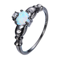 Elegant Heart Cut Rainbow Opal Claddagh Ring Fashion White CZ Wedding Jewelry Black Gold Filled Engagement Promise Rings