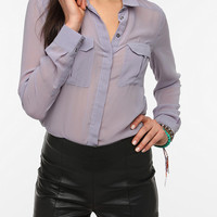 Urban Outfitters - Silence & Noise Chiffon Military Blouse
