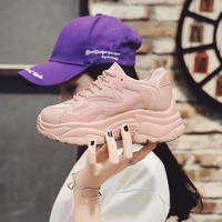Women's Chunky Sneakers 2018 Fashion Women Platform Shoes Lace Up Pink purple Female Trainers Dad Shoes Bambas Plataforma Mujer