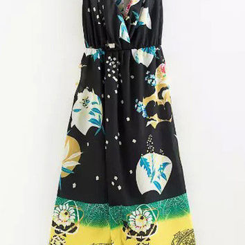 Black V-Neck Sleeveless Printed Dress
