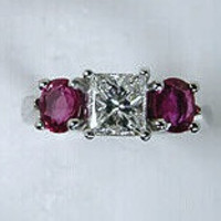 2.20ct Princess Diamond & Ruby Engagement Ring 18kt White Gold  GIA certified JEWELFORME BLUE