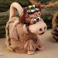Handmade decorative ceramic Bell in the shape of Cute Cow painted with acrylics