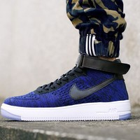 Originals Nike Air Force One 1 Flyknit Mid Blue / Black / White Running Sport Casual Shoes '07 817420-400 Sneakers