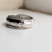 Mans Wedding Band with up to 10 characters personalization- Hammered Silver