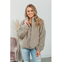 Fuzzy Faux Teddy Jacket - Grey