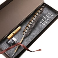Monz Writing Quill Calligraphy Pen Copper Stem 6 Metal Nibs Christmas Gift Pen Set LL-14 = 1946502340