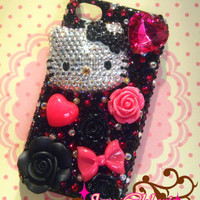SALE Handmade Sweet Adorable Bling Bling Rhineston Hello Kitty Deco Case for Apple iPhone 4 /4S