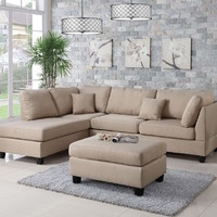 3-Piece Sectional Sofa with Reversible Chaise and Ottoman - Transitional - Sectional Sofas - by Infini Furnishings